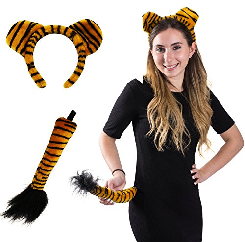 Tiger Headband and Tail - Tiger Costume - Animal Costume Accessory Set by Funny Party Hats