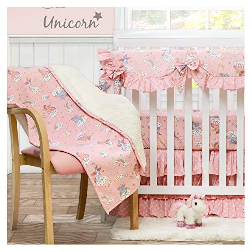 Brandream Unicorn Crib Bedding Set Blush Pink Nursery, 4 Pieces(Soft Baby Blanket + 2 Pack Cotton Fitted Crib Sheet + Princess Dust Ruffle)