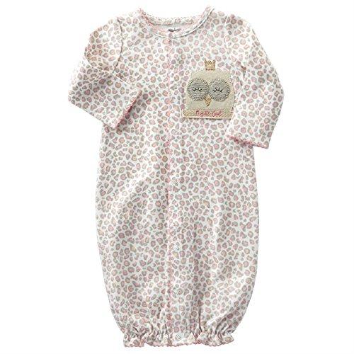 Mud Pie Night Owl Convertible Gown, Newborn (Interlock Embroidered)