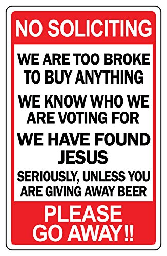 No Soliciting Funny Sign Go Away Man Cave Novelty Humor Gift (Cava Gifts)