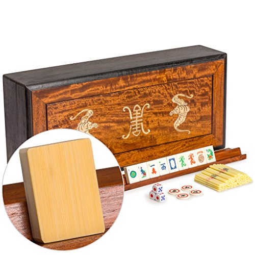 Yellow Mountain Imports Traditional American Mahjong (Mah Jongg, Mah-Jongg, Mahjongg) Set with Bone & Bamboo Tiles in Rosewood Box - Vintage Mahjong