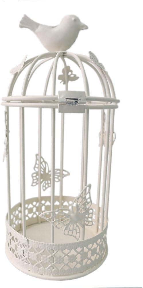 JAROWN Metal Birdcage Decorative Tealight Candle Holder Lanterns Candlesticks Home Wedding Table Desk Decor (White)