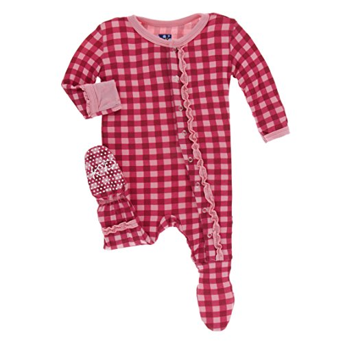 Kickee Pants Little Girls Print Muffin Ruffle Footie With Snaps - Flag Red Gingham, Newborn - Gingham Ruffle Pant