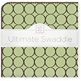 SwaddleDesigns Ultimate Swaddle, X-Large Receiving Blanket, Made in USA Premium Cotton Flannel, Brown Mod Circles on Lime (Mom's Choice Award Winner)