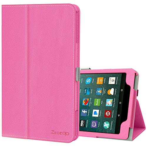 Ztotop Folio Case for Amazon Fire HD 8 Tablet (8th/7th Generation, 2018 and 2017 release) - Smart Leather Cover Slim Folding Stand Case with Auto Wake/Sleep for Fire HD 8 Tablet,Peach