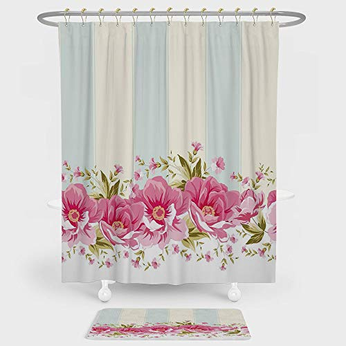 Vintage Shower Curtain And Floor Mat Combination Set Pink Peony Border on Vertical Striped Tile Bridal Wedding Design For decoration and daily use Coconut Light Blue Light Pink - Monster Truck Wall Border