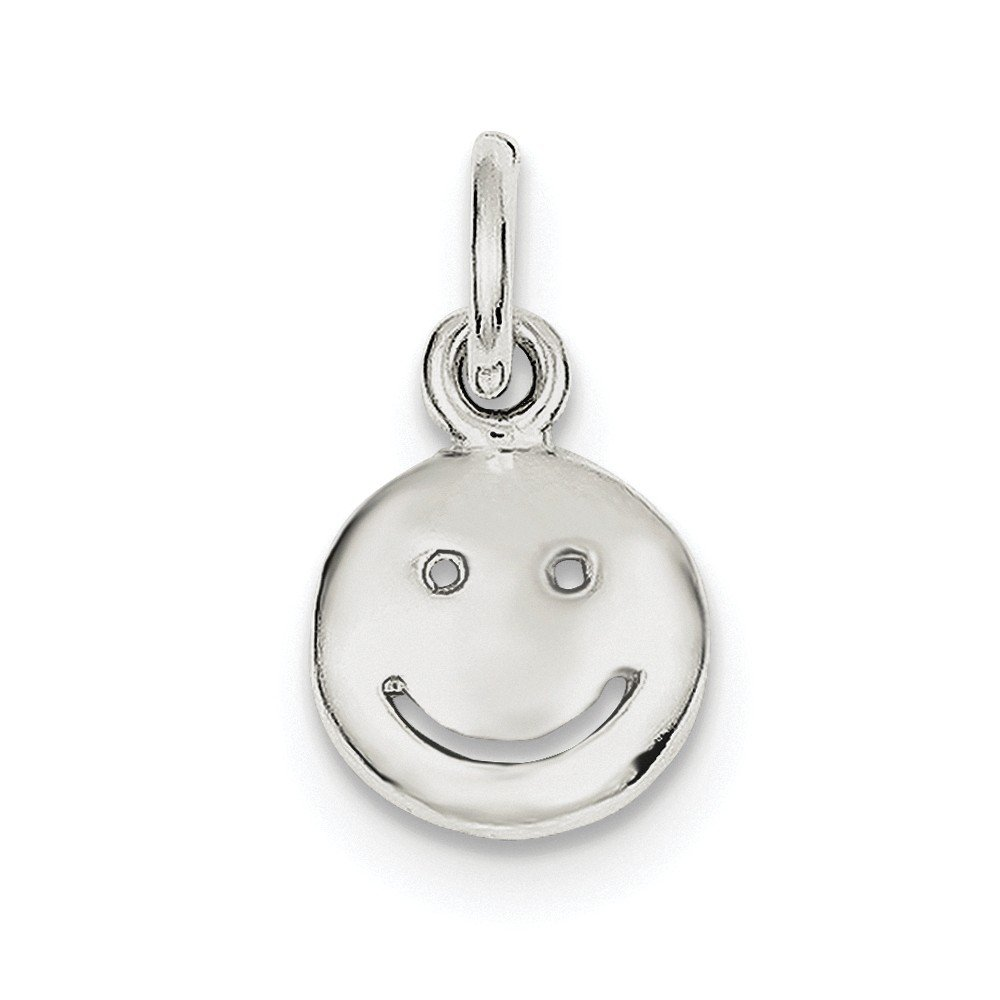 Sterling Silver Happy Face Charm (0.6IN long x 0.5IN wide)