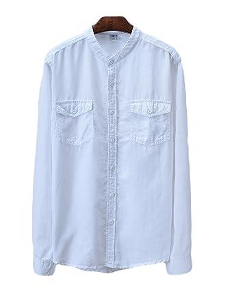 Icegrey Herren Leinen Hemd Mit Brusttaschen Stehkragen Einfarbig Langarm  Shirt Freizeit Hemd  Amazon.de  Bekleidung d30c834db3