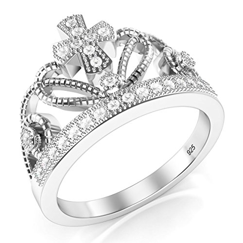 925 Sterling Silver Cubic Zirconia Princess Crown CZ Band Ring - 9
