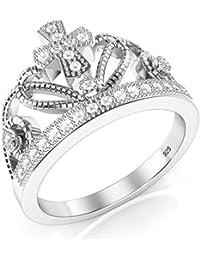 925 Sterling Silver Cubic Zirconia Princess Cross Crown Tiara CZ Band Ring