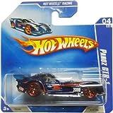 2009 Hot Wheels PANOZ GTR-1 (Blue, Red Y5 Tires) #70/166, Hot Wheels Racing #4/10 (Short Card)