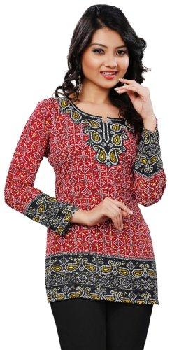 Long-India-Tunic-Top-Womens-Kurti-Printed-Blouse-Indian-Clothing