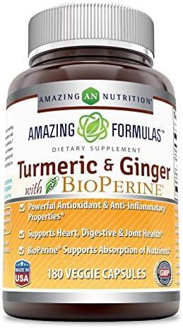 Amazing Formulas Turmeric Curcumin Ginger with BioPerine-1500 Mg Per Serving Veggie Capsules 180 Veggie Capsules Non-GMO,Gluten Free -Powerful Antioxidant AntiInflammatory Properties