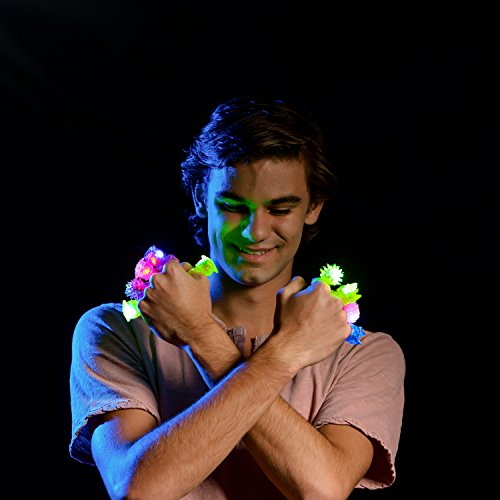 LED Party Favors for Kids – 36 Pc LED Glow in The Dark Jelly Rings Party Favors Bulk Glow in The Dark Party Supplies in Assorted LED Ring Colors by PartySticks (Image #4)