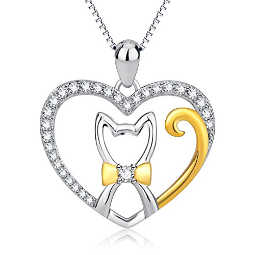 Sterling Silver Two Tone Love Heart Cat Pendant Necklace for Women Girls - Pendant Tone Cat Two