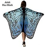HITOP Women Soft Chiffon Halloween Party Butterfly Wings Shawl Festival Wear Dress Up Cape (Black/Blue)