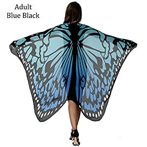 HITOP Women Soft Chiffon Halloween Party Butterfly Wings Shawl Festival Wear Dress Up Cape