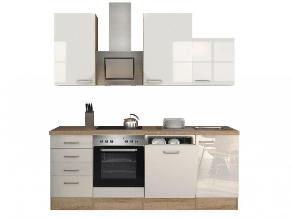 Küchenzeile 220 cm Hochglanz Weiß mit Schubkastenschrank und Kopffreihaube - Valencia