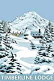 Timberline Lodge - Winter Scene at Mt. Hood (9x12 Art Print, Wall Decor Travel Poster)