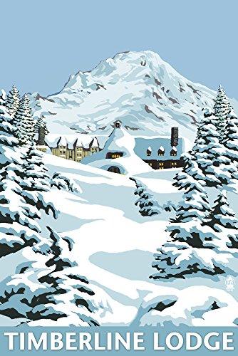 Mt. Hood, Oregon - Timberline Lodge Winter Scene (12x18 Art Print, Wall Decor Travel ()
