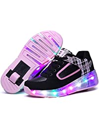 Children LED Roller Skate Shoes Girls Boys Light Black Pink Kids Shoes Jazzy Junior Sneakers