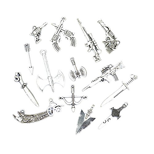 42pcs Antique Silver Plated Gun& Knife&Axe Charms Pendant Bracelets Jewelry Findings Accessories Making Craft DIY (42pcsbow and Arrow Mixed)