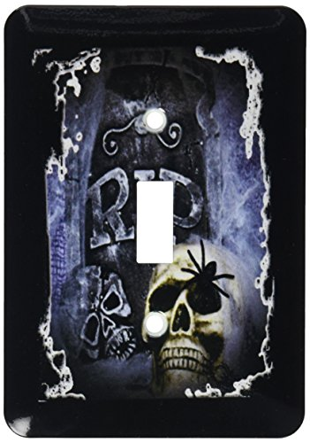 3dRose lsp_28314_1 Grave Marker and Skull Halloween Skull Design Light Switch Cover ()