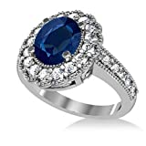 14k Gold Allurez Blue Sapphire and Diamond Oval Halo Milgrain Edged Engagement Ring (3.28ct)