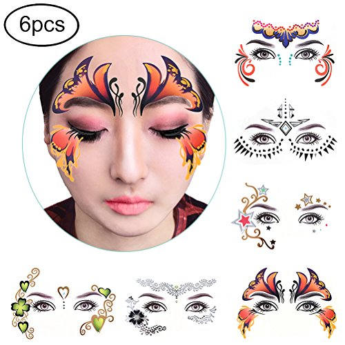 Xiangfeng 6pack Temporary Face Tattoos Eye Tattoo Face Jewel Stickers]()