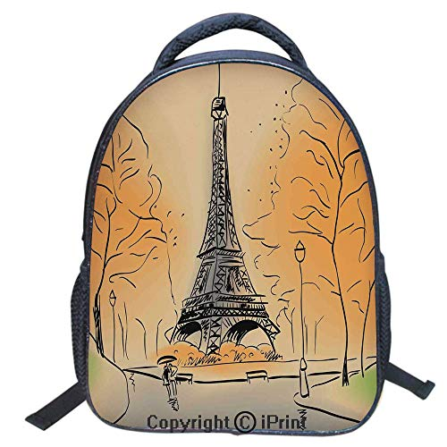 Waterproof Cute School Backpack for Boys and Girls,Water Resistant Fashion College Book Bag Unisex,16 inch,Paris Eiffel Tower with Autumn Leaves in Artistic Sketching Effect Holiday Landmark