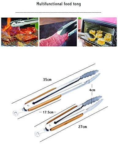 AIYASIWEI Heat-resistant and lightweight 9 and 12 inch Stainless Steel and bamboo Tongs Kitchen Tongs Kitchen Tools BBQ Clip Barbecue Clip Clamp (Color : 9 inch) 12 Inch