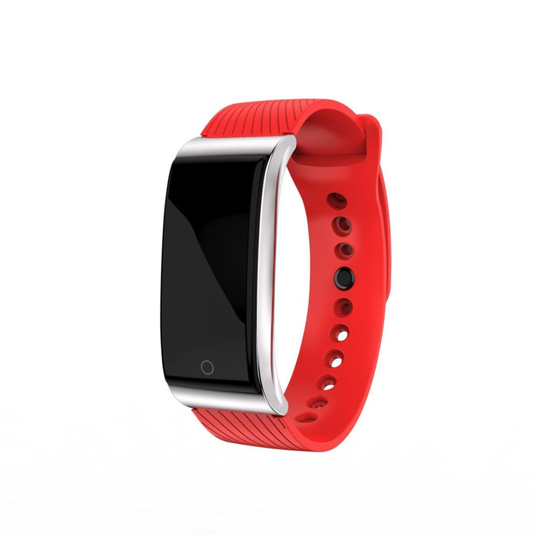 Remiel Store Smart Watch Fitness Sports Activity Blood Pressure Heart Rate Distance Counter Tracker Calory Monitor (free, RED)