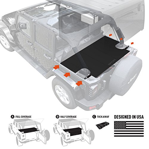 GPCA Cargo Cover LITE for Jeep Wrangler JKU Sports/ Sahara/ Freedom/ Rubicon 4DR Unlimited 2007-2017 models trunk (Jeep Wrangler Unlimited Hardtop)