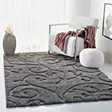 Safavieh Florida Shag Collection Scrolling Vine Grey Graceful Swirl Area Rug (9'6' x 13')