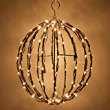 LED Light Ball – Indoor / Outdoor Christmas Light Balls, Light Spheres Outdoor / Sphere Light Fold Flat Metal Frame (32'', Brown Frame / Warm White Lights)