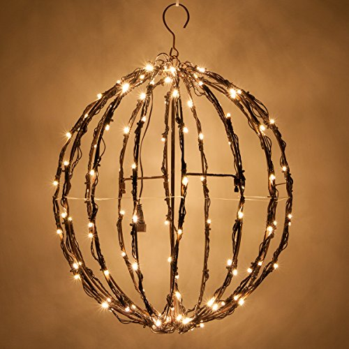 LED Light Ball – Indoor / Outdoor Christmas Light Balls, Light Spheres Outdoor / Sphere Light Fold Flat Metal Frame (16