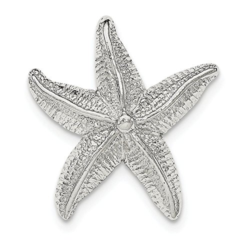 Star Slide Pendant (Lex & Lu Sterling Silver Polished & Textured Star Fish Chain Slide Pendant)