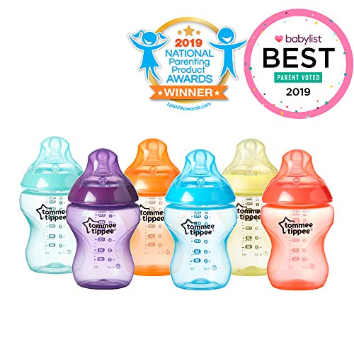 Tommee Tippee Closer to Nature Fiesta Baby Feeding Bottles, Anti-Colic, Slow Flow, BPA-Free - 9 Ounces, Multi-colored, 6 Pack from Tommee Tippee