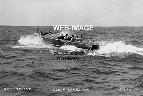 (OnlyClassics 1930's Chris-Craft Wood Speedboat Clear Lake Iowa Photo American Flag Large Boat)