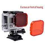 TANSUO Snorkel Red Filter for GoPro Hero 5 Hero 4 Hero 3+ Hero3 SJ4000 and Other Action Cameras (For 8 screws on front of housing)