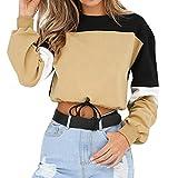 Autumn Sexy Long Sleeve Casual Tops Sweatshirt Round Neck Plain Loose Jumper Pullover Blouse Women's Fashion Tee (2XL, Khaki)