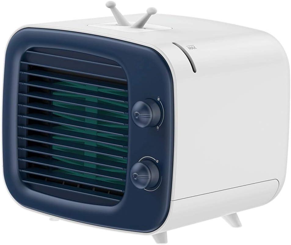 Ventilador de aire acondicionado, ventilador pequeño humidificado USB, pequeña oficina de refrigeración Escritorio de escritorio Ventilador de aire acondicionado portátil, estilo retro de TV Puede agr