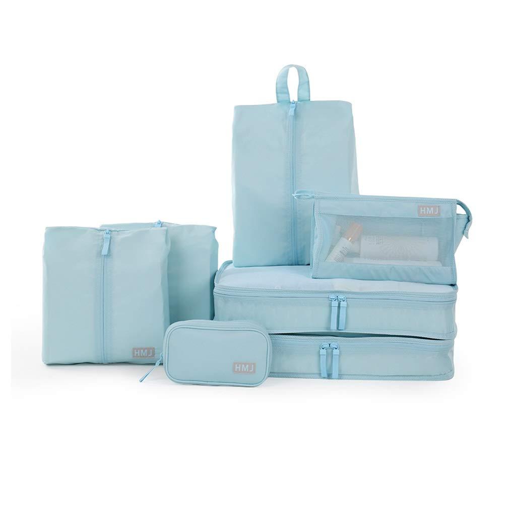 トラベルストレージバッグセット7、荷物服ソートバッグポータブルトラベルバッグ、ナイロンファブリック防水通気性トラベルアクセサリー (色 : 青) B07M8RVSN2 青