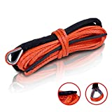 STEGODON 1/4'' x 50ft Synthetic Winch Rope 10,000lbs Winch Line Cable with Black Protecting Sleeve for ATV UTV Boat Ramsey Synthetic Winch Rope(Orange)