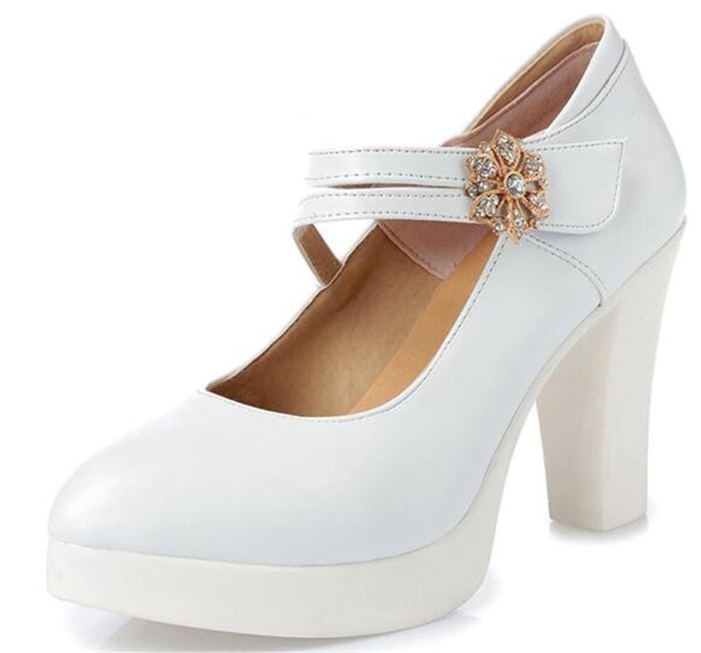 Femmes Chaussures Cuir Bloc Talon Mary Jane Plate-Forme Travail Courroie Cheville Cour Pompe Taille 35 à 42