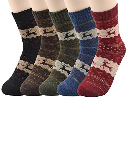 Passionate Adventure Heavyweight 5 Pairs Warm Womens Wool Blend Outdoor Socks 5 Pack Deer (Never Flat Football compare prices)