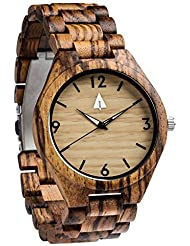 Treehut Mens Zebrawood Wooden Watch with All Zebrawood Wood Strap Quartz Ana...