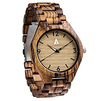 3bce6663e2 Image Unavailable. Image not available for. Color  Treehut Men s Zebrawood Wooden  Watch ...
