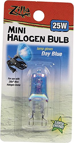 Zilla Reptile Terrarium Heat Lamps Mini Halogen Bulb, Day Blue, 25W