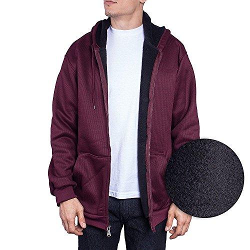 Walnut Creek Mens Jacket Zip Up Hoodie Thermal Shell Sherpa Fleece